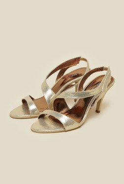 Inc.5 Gold Leather Cone Heel Sandals