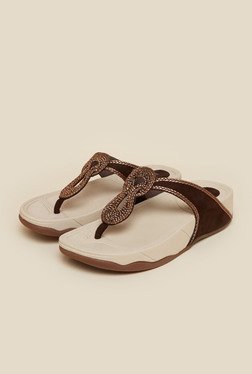 Inc.5 Brown Diamond Beaded Wedge Heel Sandals