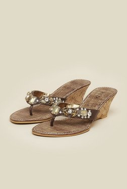 Inc.5 Antique Gold Beaded Floral Sandals