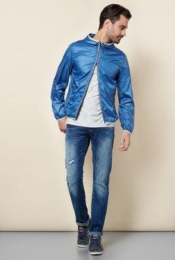 celio* Blue Solid Jacket