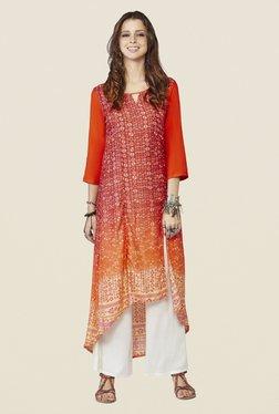 Global Desi Orange Printed Demelza Kurta