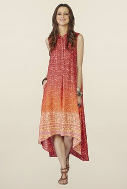 Global Desi Red Printed Demelza Dress