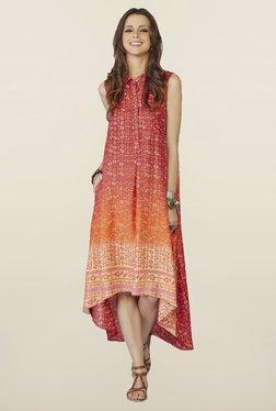 Global Desi Red Printed Demelza Dress