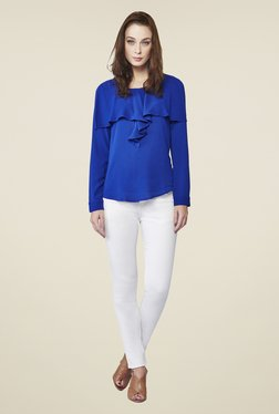 AND Ink Blue Rouge Ruffle Top
