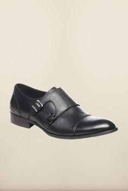 Pavers England Black Leather Monk Shoes