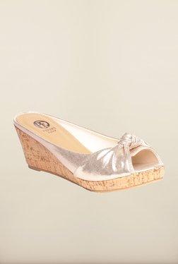 Pavers England Golden Peep Toe Wedges