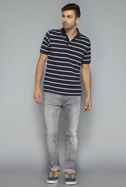 Westsport Mens Navy Striped Regular Fit T Shirt