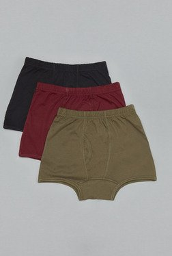 Westsport Black, Red & Olive Cotton Trunks (Pack Of 3)