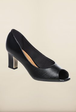 Pavers England Black Peep Toe Shoes