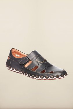 Pavers England Black Leather Fisherman Sandals