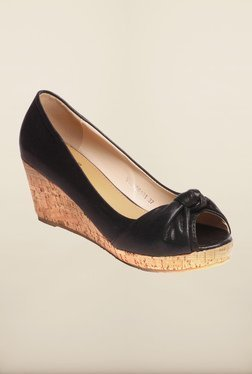 Pavers England Black Peep Toe Wedges