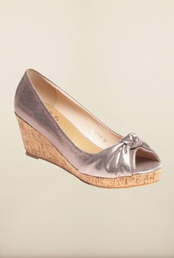 Pavers England Pewter Peep Toe Wedges