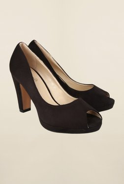 Cobblerz Black Peep Toe Casual Shoes