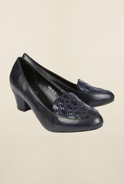 Cobblerz Navy Block Heel Shoes