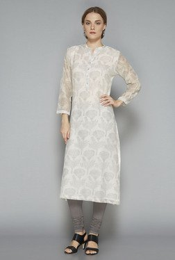 Zuba Light Grey Printed Regular Fit Kurta
