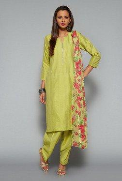 Vark Green Embroidered Churidar Suit Set