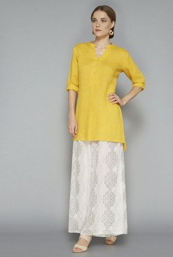 Zuba Yellow Solid Linen Kurta