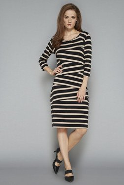 Wardrobe Black Striped Jersey Dress