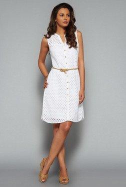 LOV White Crochet Shirt Dress