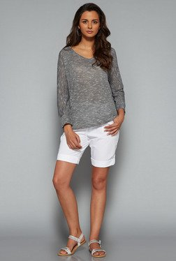 LOV White Solid Mid Rise Shorts