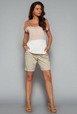 LOV Beige Solid Mid Rise Shorts