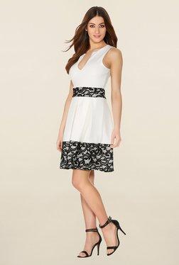 Quiz Cream & Black Lace Skater Dress