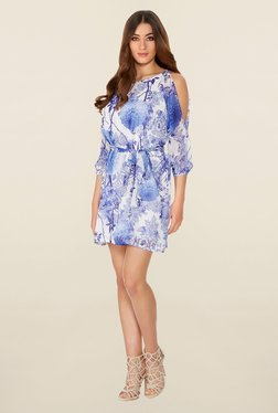Quiz Blue Floral Print Chiffon Belt Dress