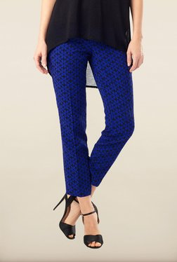 Phase Eight Navy Printed Jacquard Trousers