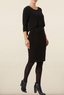 Phase Eight Black Solid Jersey Dress