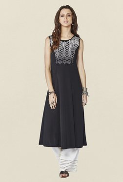 ff0653d859d Global Desi Black Embroidered Acacia Kurta Best Deals With Price ...