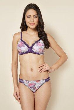 Enamor Purple Floral Printed Balconette Bra