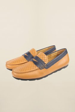Cobblerz Tan & Navy Moccasin Shoes