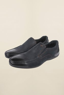 Cobblerz Navy Leather Moccasin Shoes