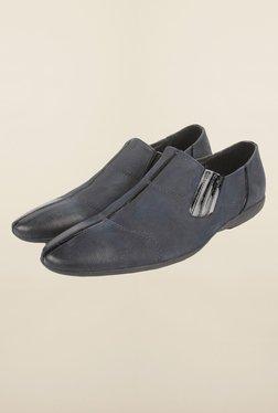 Cobblerz Navy Leather Slip-Ons