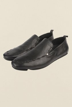 Cobblerz Black Leather Moccasin Shoes