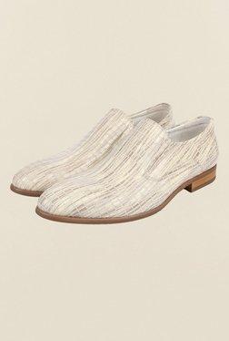 Cobblerz Beige Leather Slip-On Shoes