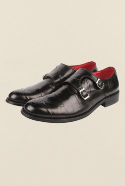 Cobblerz Black Leather Monk Shoes