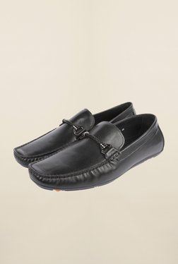 Cobblerz Black Leather Moccasin Shoes - Mp000000000215817