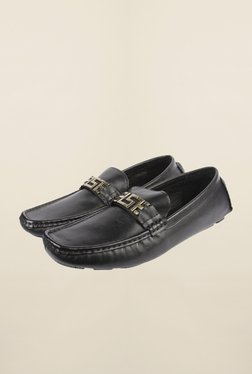 Cobblerz Black Leather Moccasin Shoes - Mp000000000215828