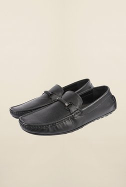 Cobblerz Black Leather Moccasin Shoes - Mp000000000215839