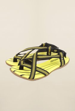 Cobblerz Yellow & Black Back Strap Sandals