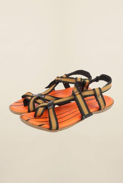 Cobblerz Orange & Black Back Strap Sandals