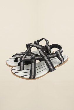 Cobblerz White & Black Back Strap Sandals
