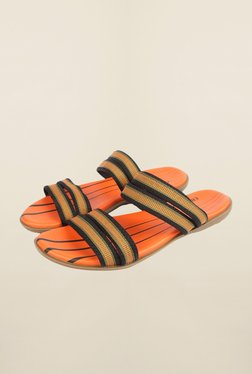Cobblerz Orange & Black Leather Sandals