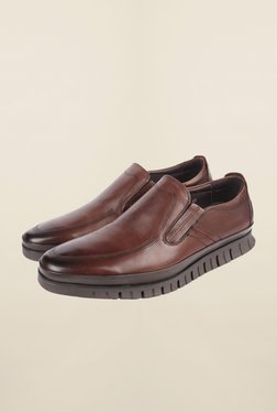 Cobblerz Brown Leather Formal Slip-Ons