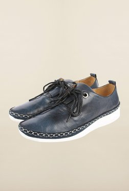 Cobblerz Navy Leather Casual Shoes
