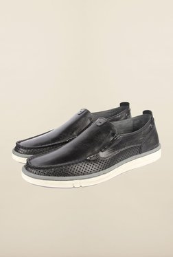 Cobblerz Black Leather Slip-On Shoes - Mp000000000215557
