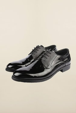 Cobblerz Black Leather Oxford Shoes