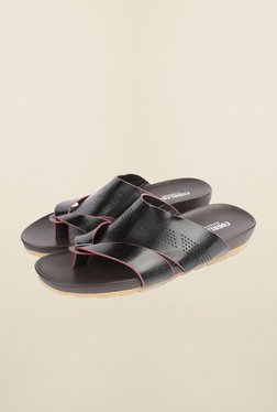 Cobblerz Black Leather Thong Sandals