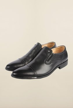 Cobblerz Black Leather Slip-On Shoes